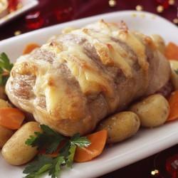 Roti de selle d'agneau façon Orloff tomates confites et tomme de vache 800g