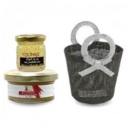 Panier gourmand Foie Gras 50g et Confit aux paillettes d'or 40g