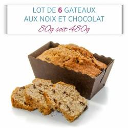 Lot de 6 Gâteaux aux Noix du Périgord et Chocolat 80g soit 480g