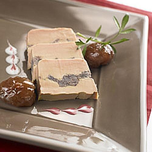 Tranche de foie gras de canard entier mi cuit aux marrons glacés
