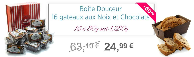 BOITE DOUCEUR 16 GATEAUX AUX NOIX ET CHOCOLATS 16x80g soit 1280g