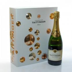 Coffret Champagne Taittinger Brut Réserve AOC Champagne Brut et ses 2 flutes, 75cl