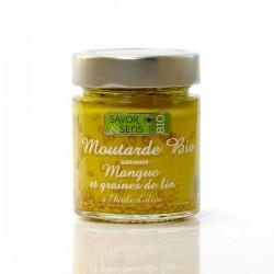 Moutarde Bio saveur Mangue et Graine de lin à l'huile, 130g