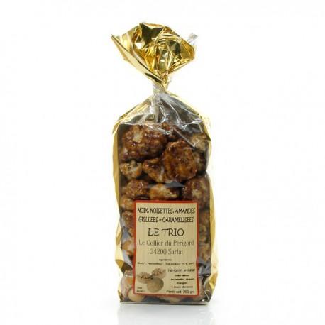 Trio amandes noisettes et noix caramélisées 200g