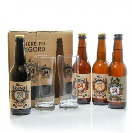 Coffret de 4 bières + 2 verres de la Brasserie Artisanale de Sarlat 4x33cl