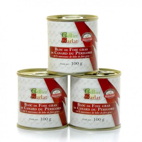 Lot de 3 blocs de foie gras de canard IGP Périgord avec morceaux 100g soit 300g