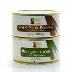 Lot de Coq au Vin de Bergerac Aux Cèpes 300g et Blanquette d'Oie Artisanale 300g