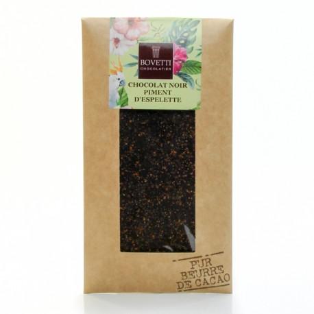 Tablette Chocolat noir à 73% et piment d'espelette Pur Beurre de Cacao, 100g