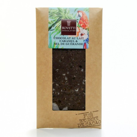 Tablette Chocolat au Lait Caramel Fleur de sel Pur Beurre de Cacao, 100g