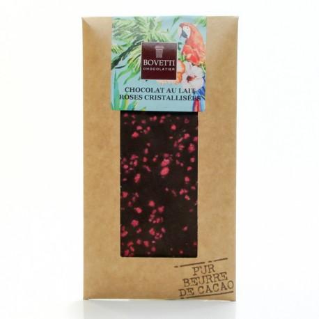 Tablette Chocolat au Lait et pétales de roses Pur Beurre de Cacao, 100g
