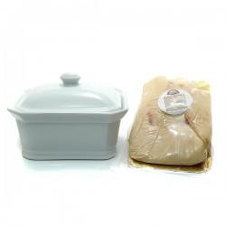 Lot Terrine en Porcelaine et Lobe de Foie Gras de Canard Cru 450g +/- 50g
