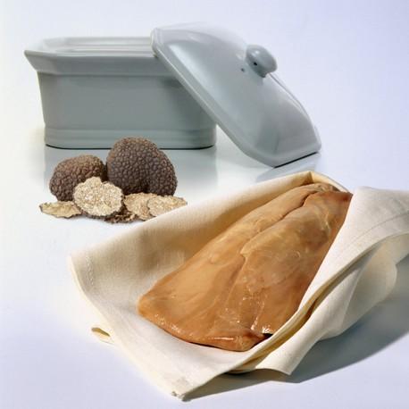 Lot foie gras cru canard +/- 450g + truffe été 50g + 1 terrine en porcelaine