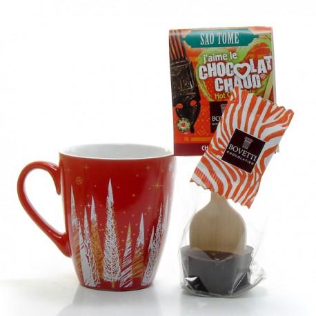 1 Mug Décor Fêtes et une cuillère Cœur de Chocolat
