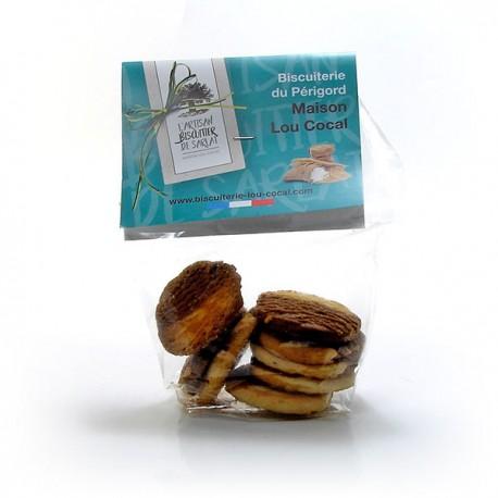 Sachet de 7 Biscuits Artisanaux Bicolores Choco Noisette et Poire 70g