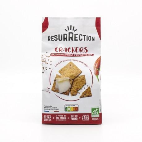 Crackers Apéro BIO Duo de Lin et Piment d'Espelette AOP 100g