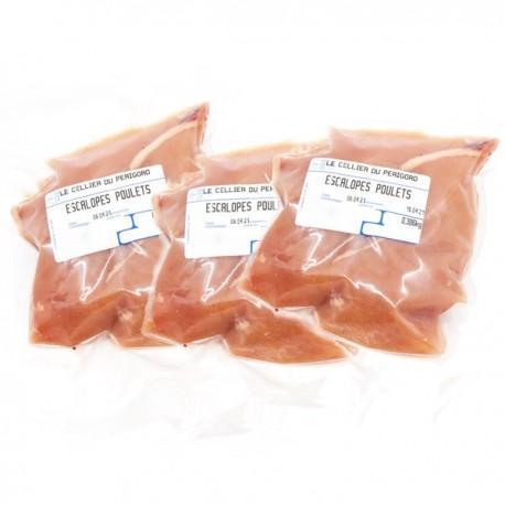 Lots de 6 escalopes de poulet fermier 3x2, env 900g