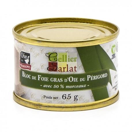Bloc de Foie Gras d'Oie du Périgord avec 50% de Morceaux 65g