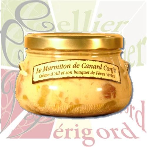 Marmiton de Canard Confit à la Crème d'Ail et Fèves vertes