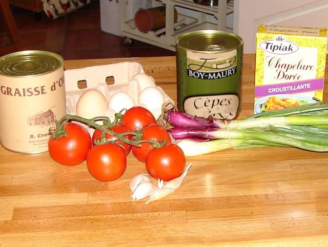 Ingrédients recette Oeufs Cocotte sur Fricassée de Cèpes à la Tomate