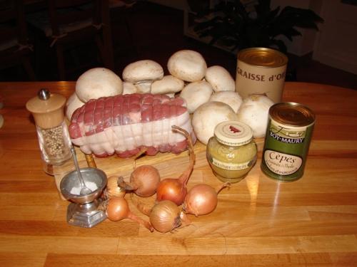 Ingrédients recette Rôti de Veau forestier Moutarde à la truffe