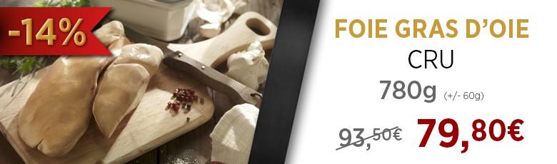 Promo Lobe de foie gras d'oie cru, 780g